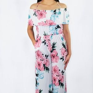 Ivory with Floral Print Off the Shoulder Jumpsuit
